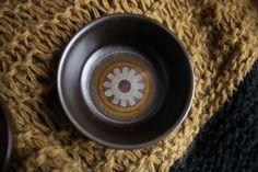 2 Denby Langley Samarkand Brown ARABESQUE Fruit Dessert Bowls / Vintage Midcentury