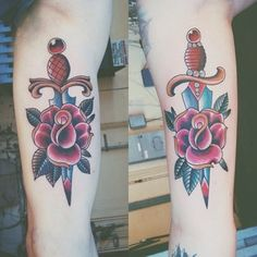 This charmingly badass rose-and-dagger duo. | 43 Adorable Couples' Tattoos That Will Stand The Test Of Time