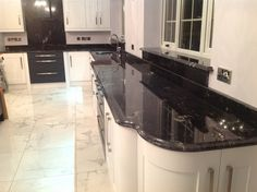 Searching for the top quality Agatha black granite kitchen worktop in London UK. Call Us: Astrum Granite is the top supplier Agatha black granite worktop for your home. Black Granite Kitchen, Black Quartz Countertops, Cost Of Granite Countertops, Granite Worktops, Kitchen Countertops, Dark Granite, Granite Slab, Kitchen Colors, Kitchen Decor