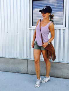 Cool Mom Fashion Fringe Crossbody, Trucker Hat, Converse