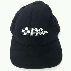 084517fc0c8 Vintage NO FEAR Racing Checkered Flag Black SNAPBACK HAT BALL CAP USA  CAP  Usa Cap