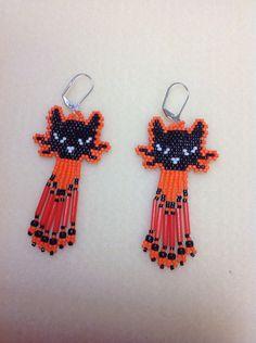 Halloween Black And Orange Cat Beaded Earrings by Bead4Fun on Etsy, $25.00