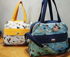 Duo de sacs à langer Boogie jaune et bleu cousus par Agnès - Patron Sacôtin