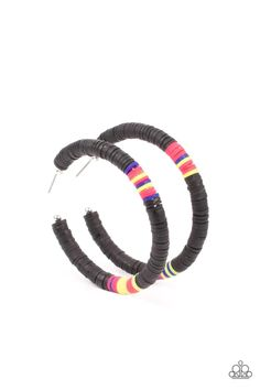 Colorfully Contagious - Black Paparazzi Accessories, Paparazzi Jewelry, Black Earrings, Hoop Earrings, Pink Peacock, Black Neon, Silver Hoops, Ball Necklace, Cute Jewelry