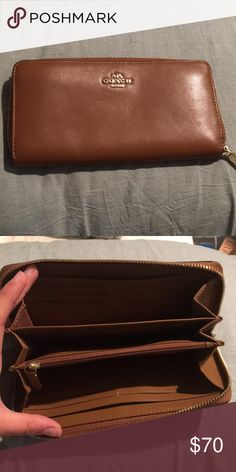 295f66d9385b Brown leather coach wallet Brown leather coach wallet with gold zippers. It  has 12 credit card slots