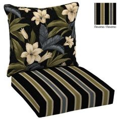 reversible black tropical floral blossom outdoor deep seat cushion set u003c3 this is an amazon