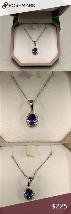Sterling 925 Faceted Rectangle Blue Tanzanite CZ Halo Bail Loop Necklace 18/'/'
