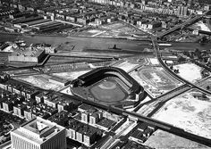 The old Yankee Stadium in 1931. The Bronx County courthouse stands in the foreground.