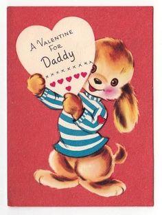 Vintage Greeting Card Valentine Daddy Cute Puppy Dog Red Flocked Background V44