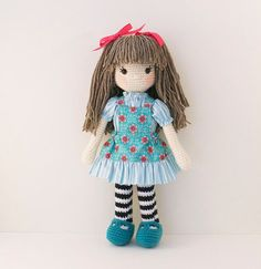 Amigurumi crochet doll Sweet girl doll in aqua by BubblesAndBongo ♡