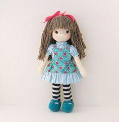 Amigurumi crochet doll Sweet girl doll in aqua by BubblesAndBongo ♡