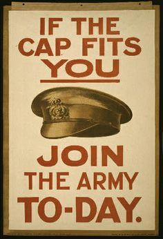 If the Cap Fits You, Join the Army Today - Vintage War Military Elistment Poster