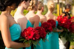 Bridesmaids in teal and black with red flowers. Destination wedding at the Four Seasons Resort Maui in Wailea, Hawaii. Photo by Maui wedding photographer, Mike Adrian of Mike Adrian Photography. www.mikeadrian.com