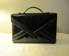 black patent leather envelope purse by Saks Fifth Ave by mellowrabbit, $20.00
