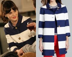 """Jess's striped coat with gold buttons from New Girl's season 3 finale """"Cruise"""" is only $199 in the surprise sale at Kate Spade! ..."""