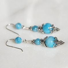 Handmade blue Larimar Sterling and Bali by KarmaKittyJewelry