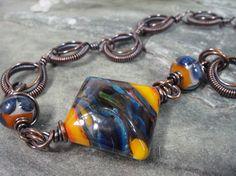 Artisan Orange and Blue Diamond Shaped by PattiVanderbloemen, $75.00