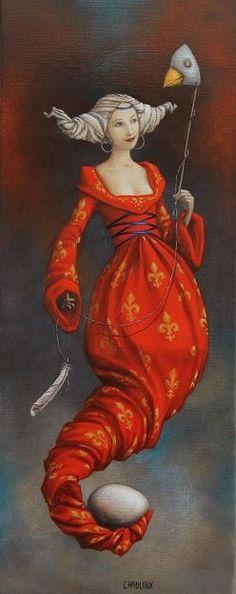 orange - woman - bird - egg - Cattherine Chauloux - painting