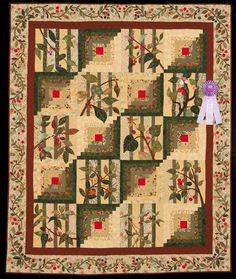 2015 Quilt Expo Quilt Contest, Honorable Mention, Category 6, Wall Quilts, Hand Quilted Any Type: Cabin in the Woods, Ruth Potter, Carthage, Mo. quiltexpo.com