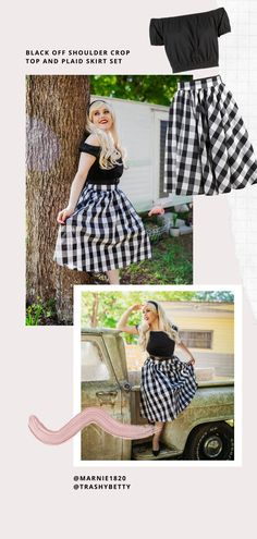 Harley Heartthrob in a Brigitte Bardot inspired outfit. Photography by Trashy Betty. Black Off Shoulder, Off Shoulder Crop Top, Burlesque Dress, Corsets Online, Plus Size Corset, 1950s Outfits, Jane Clothing, Brigitte Bardot, Plaid Skirts