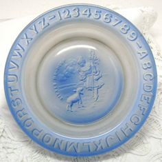 Vintage Baby Dish  Blue Glass  Little Bo Peep  ABC by boomerville