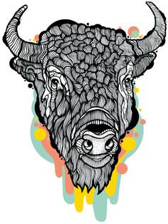 Bison Head 2014. Digital Illustration by Casiegraphics. www.casiegraphics.com #casiegraphics