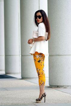 HallieDaily Scuba top, floral pants and leopard pumps_4