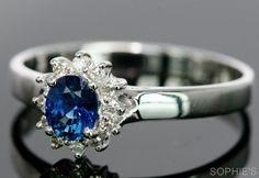 ~Genuine Blue Sapphire & Diamond Victorian Engagement Ring Solid 18K White Gold~ #SolitairewithAccents