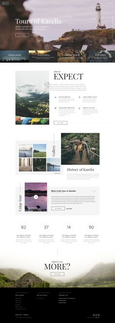 website inspiration: travel focused.. types of travel in header photo.. what to expect is an awesome category.. clean composition