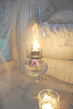Soft lighting , oil lamp in a bedroom