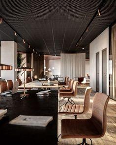 Corporate Office Design, Open Office Design, Office Interior Design, Office Interiors, Decorating Office Spaces, Office Ceiling Design, Interior Modern, Modern Luxury, Interior Ideas