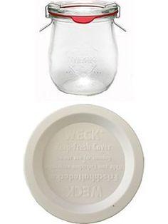 Weck - 12 barattoli in vetro da 220 ml + 4 coperchi a chiusura ermetica, guarnizioni in gomma, clip e coperchi inclusi