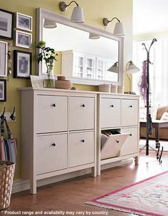 ikea shoe cabinets, paint huge mirror white (or same accent grey as trim), sconce lighting?