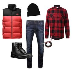 A menswear look from January 2017 featuring men's casual shirts, mens stretchy jeans and men's outerwear. Browse and shop related looks. Jack Jones, Work Wear, The North Face, Men's Fashion, Menswear, Shoe Bag, Polyvore, How To Wear, Stuff To Buy