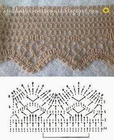 If you looking for a great border for either your crochet or knitting project, check this interesting pattern out. When you see the tutorial you will see that you will use both the knitting needle and crochet hook to work on the the wavy border. Filet Crochet, Beau Crochet, Pull Crochet, Mode Crochet, Thread Crochet, Crochet Border Patterns, Crochet Lace Edging, Crochet Motifs, Crochet Diagram
