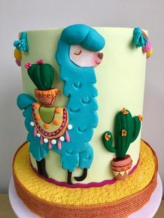 """Llama ""❤️ - cake by Rossana Ávila - Mexico - Cactus Pretty Cakes, Cute Cakes, Fondant Cakes, Cupcake Cakes, Fiesta Cake, Cactus Cake, Rosalie, Homemade Cake Recipes, Salty Cake"