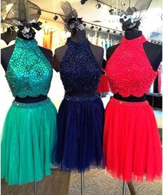 Dressylady Floral Beading 2 Piece Homecoming Dress Tulle Prom Party Gowns at…