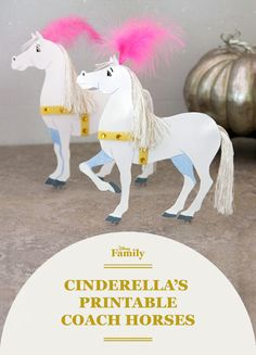Made from paper, embroidery floss, and a little bit of fairy dust, this majestic pair of printable DIY coach horses is sure to complete a Cinderella party or kids room decor.
