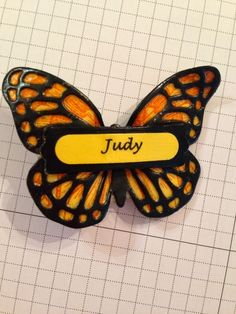 Swallowtail Butterfly, Butterflies Thinlits, Word Window & Modern Label punches - name pin - Stamper's Dozen Blog Hop SAB