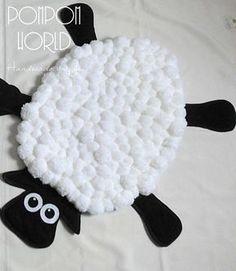 Tapis - tapis de jeu enfant tapis - tapis enfants drôle de mouton - Pom Pom tapis - Pom Pom mouton - pépinière Decor - blanc - noir - Animal tapis - tapis fait à la main-