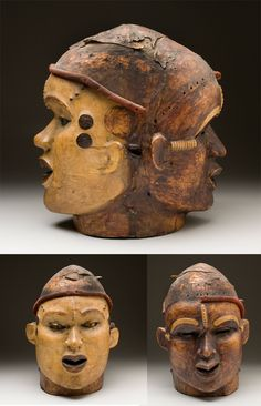 Africa   Janus mask from the Ejagham (Ekoi) people of Nigeria   Antelope skin, stretched over wood and painted with pigment   ca. 1900