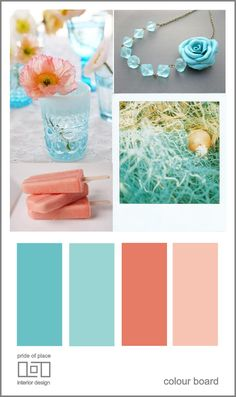 This is going to be my color scheme for my room; favorite colors: mint teal & coral.