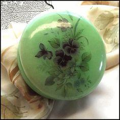 Alabaster Jade Vintage Jewelry Box with Pansies