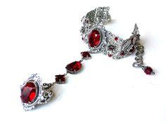 Red Swarovski Bracelet Silver Crystal Wedding por LeBoudoirNoir