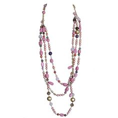 CHANEL Vintage Long Necklace pink pearls stones gold CC ❤ liked on Polyvore