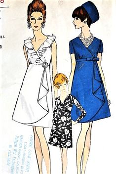 1960s MOD Evening Party Dress Pattern VOGUE 7434 Eye Catching Low Surplice Neckline, High Waist Empire Draped Overskirt Perfect Cocktail Evening Party Dress Bust 34 Vintage Sewing Pattern FACTORY FOLDED