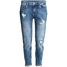 Boyfriend Low Trashed Jeans $29.99 (€27) ❤ liked on Polyvore featuring jeans, pants, bottoms, ripped jeans, blue ripped jeans, distressed jeans, torn jeans and h&m jeans