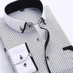 2015 Autumn Printed Men Shirt Long Sleeve Male Business Casual Fashion Formal Dress Shirts Slim Fit Camisa Plus Size 5XL YN026