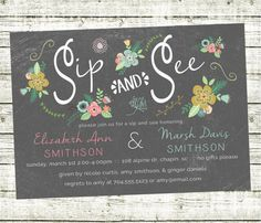 Floral Chalkboard Sip N See Invitation for Twins or Joint Party or just one baby too!  Rustic floral vibe - printable file - DIY