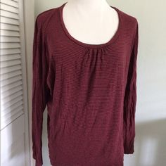 Ella Moss • long sleeve stripe top Dolman sleeve red and charcoal gray stripe top.  Loose fit with side panels.  Scoop neck.  100% rayon, feels like a cotton.  Size is medium but fits more like a small.  No rips, tears, stains or holes. 1103N50 Ella Moss Tops